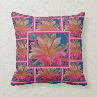 Exotic Flower Pink-Teal Pillow Pillow