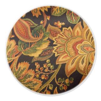 Exotic Flower Print Ceramic Knob