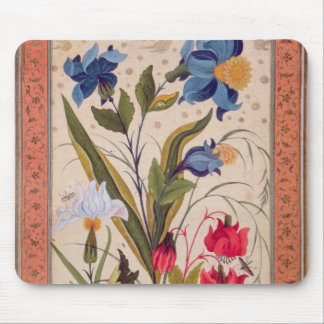 Exotic flowers with insects mouse mat