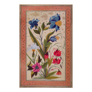 Exotic flowers with insects poster