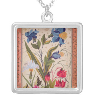 Exotic flowers with insects silver plated necklace