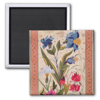 Exotic flowers with insects square magnet