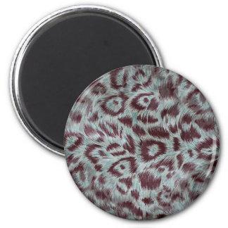 Exotic Furry Leopard Spots Dusty Blue Aubergine 6 Cm Round Magnet