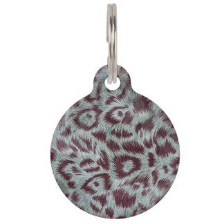 Exotic Furry Leopard Spots Dusty Blue Aubergine Pet Name Tags