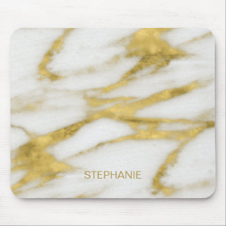 Exotic Gold and White Marble Abstract with Monogra Mouse Mat