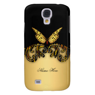 Exotic Gold Black Butterfly Galaxy S4 Case