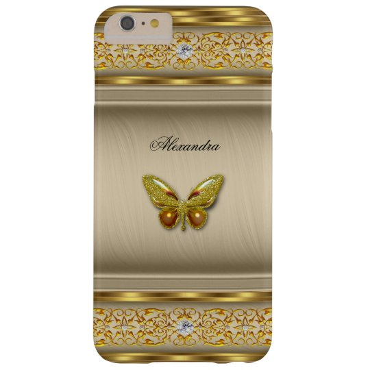 Exotic Gold Caramel Beige Butterfly Diamond 3 Barely There iPhone 6 Plus Case