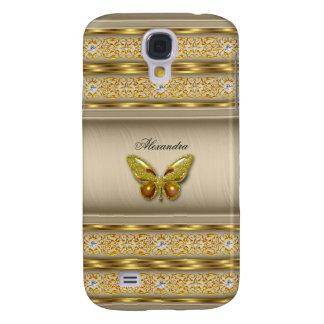 Exotic Gold Caramel Beige Butterfly Diamond 3 Galaxy S4 Case