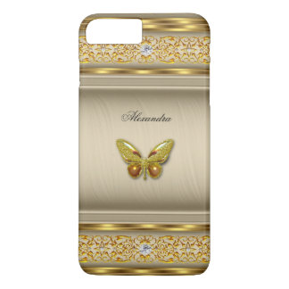 Exotic Gold Caramel Beige Butterfly Diamond 3 iPhone 7 Plus Case