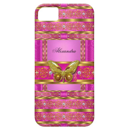 Exotic Gold Hot Pink Butterfly Diamond iPhone 5