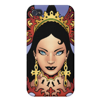 Exotic Gothic Queen with Ankh Earrings by Al Rio iPhone 4 Cases