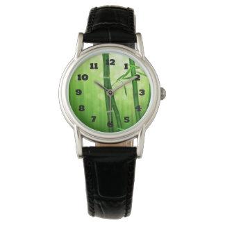 Exotic Green Bamboo With Shiny Bokeh Lights Wrist Watch