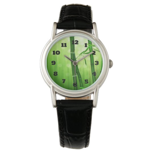 Exotic Green Bamboo With Shiny Bokeh Lights Wrist