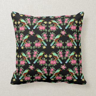 Exotic Green Magpie Birds Pillow