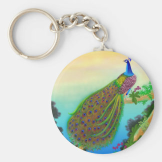 Exotic Green Peacock Basic Round Button Key Ring