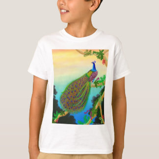 Exotic Green Peacock Kids T-Shirt