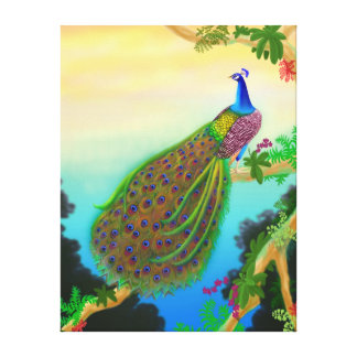 Exotic Green Peacock Wrapped Canvas Gallery Wrapped Canvas