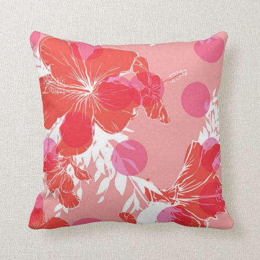 Exotic hibiscus tropical flower pillow