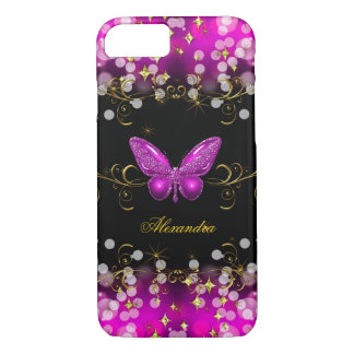 Exotic Hot Pink Gold Black Butterfly Sparkles iPhone 8/7 Case