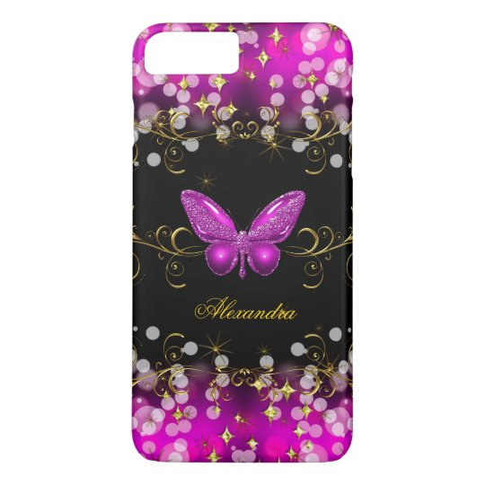Exotic Hot Pink Gold Black Butterfly Sparkles iPhone