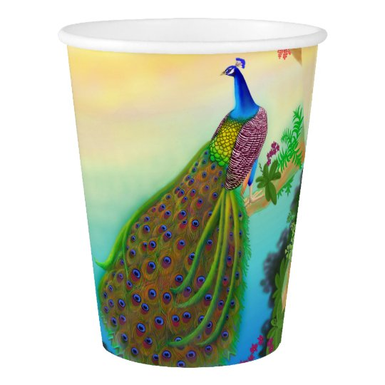 Exotic Indian Peacock Paper Cups