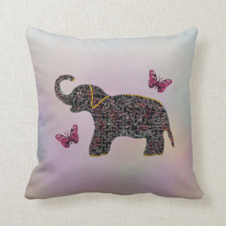 Exotic Jewel Elephant Butterfly Decorative Pillow