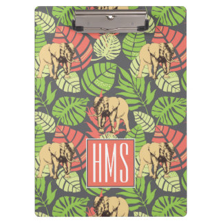 Exotic Jungle Leaves And Elephants | Monogram Clipboard
