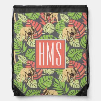 Exotic Jungle Leaves And Elephants | Monogram Drawstring Bag