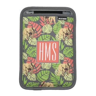 Exotic Jungle Leaves And Elephants | Monogram iPad Mini Sleeves