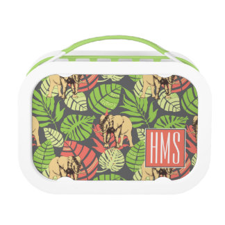 Exotic Jungle Leaves And Elephants | Monogram Lunch Box