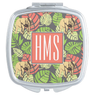 Exotic Jungle Leaves And Elephants   Monogram Makeup Mirrors