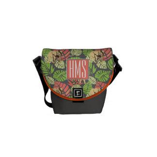 Exotic Jungle Leaves And Elephants   Monogram Messenger Bag