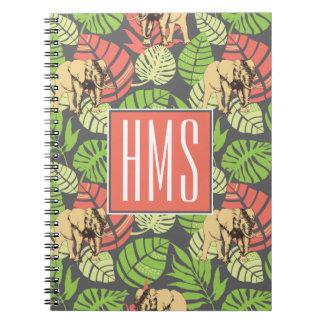 Exotic Jungle Leaves And Elephants   Monogram Notebooks
