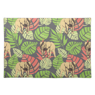 Exotic Jungle Leaves And Elephants Placemat