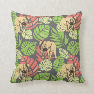 Exotic Jungle Leaves And Elephants Throw Pillow