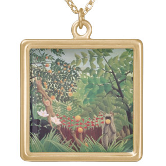 Exotic Landscape, 1910 Gold Plated Necklace