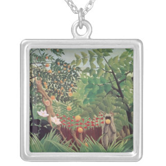 Exotic Landscape, 1910 Silver Plated Necklace