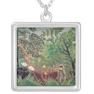 Exotic Landscape, 1910 Square Pendant Necklace