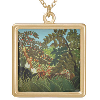 Exotic landscape gold plated necklace