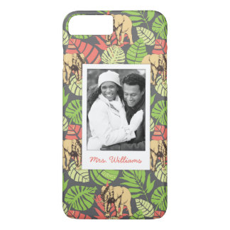 Exotic Leaves & Elephants | Add Your Photo & Name iPhone 8 Plus/7 Plus Case