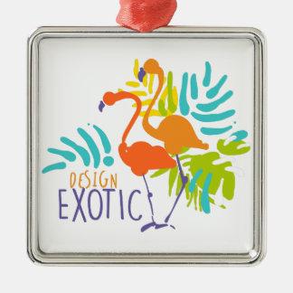 Exotic logo design with flamingo birds christmas ornament