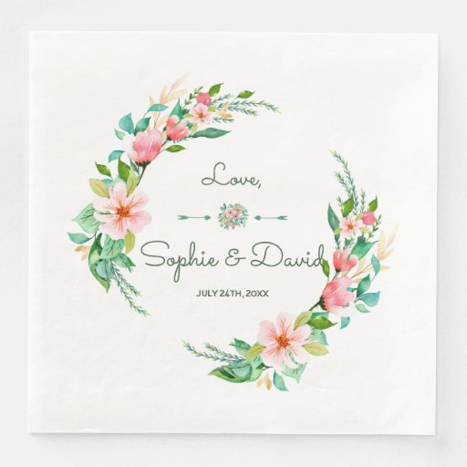 Exotic Luau Tropical Watercolor Floral Wedding Disposable Napkin