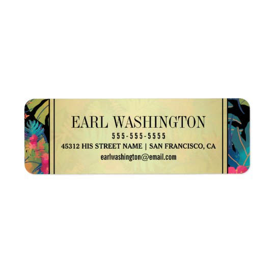 Exotic Modern Tropical Watercolor Wedding Return Address Label
