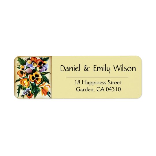 Exotic Multicolored Pansies Return Address Label