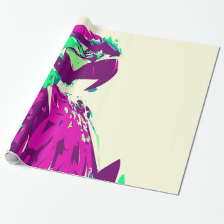 Exotic Neon Colorful Parrot Bird Wrapping Paper