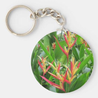 Exotic orange and gold flowers keychain