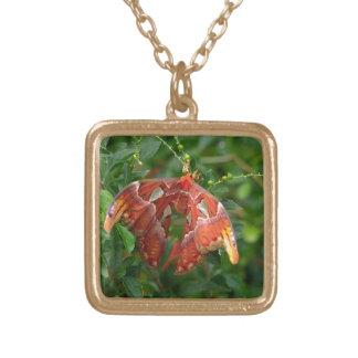 Exotic orange butterfly pendant