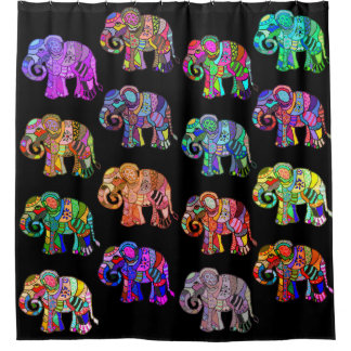 Exotic ornamental psychedelic colorful elephants shower curtain