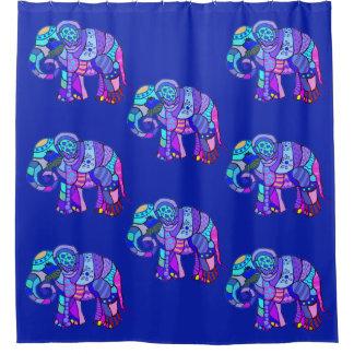 Exotic ornamental tribal colorful elephants shower curtain