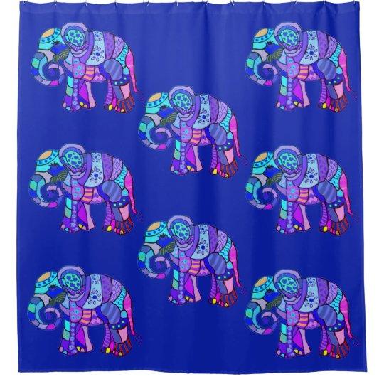 Exotic ornamental tribal colourful elephants shower curtain